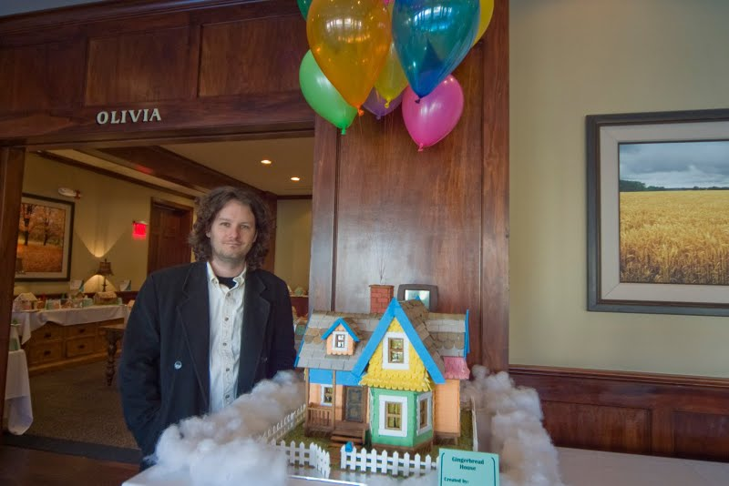 Gingerbread Carl's House from Pixar's UP displayed at Eldridge hotel in Lawrence, KS